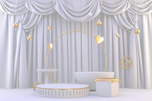 Branco pódio romano para produtos cosméticos em branco de granito de fundo. renderização