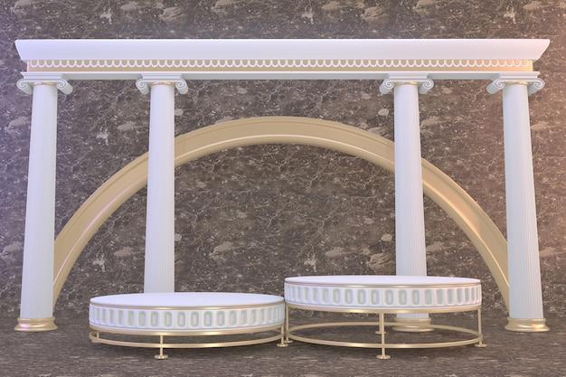 Branco pódio romano para produtos cosméticos em granito marrom de fundo. renderização 3d
