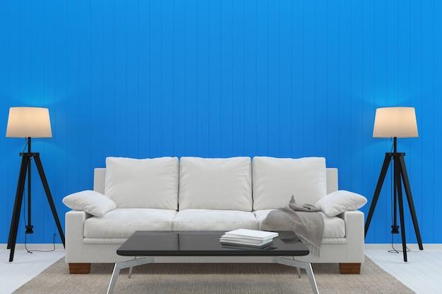 Branco sofá azul pastel parede branco assoalho de madeira textura lâmpada tapete