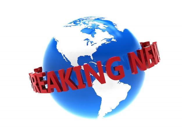 Breaking news em torno do planeta em branco