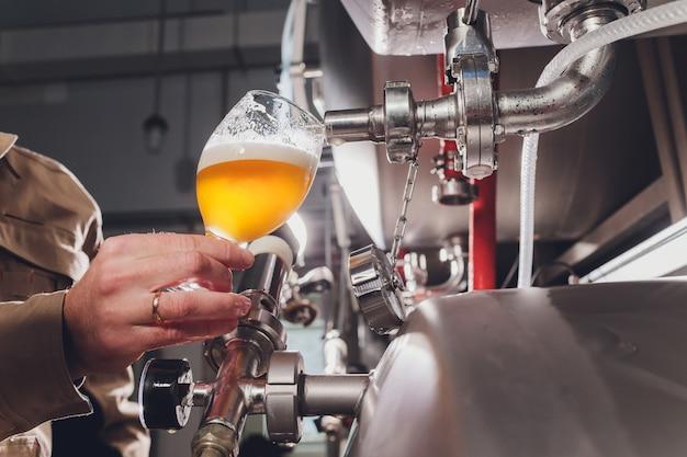 Brewer homem derrama cerveja em um copo para controle de qualidade