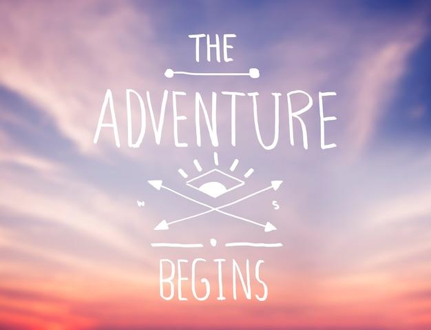 Bright pink sky com adventure quote