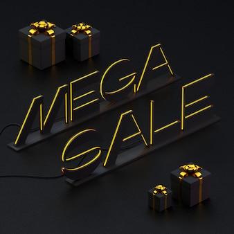 Brilhando nas bordas letras mega sale com caixas de presente em preto. ilustração 3d