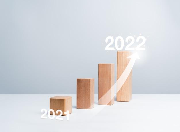Brilhando seta subir em blocos de madeira gráficos etapas de ano para ano em fundo branco com espaço de cópia, estilo minimalista. o processo de crescimento do negócio e o conceito de melhoria econômica.