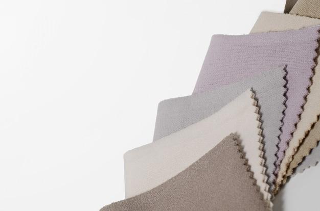 Brilhante coleção de amostras de têxteis de veludo. fundo de textura de tecido.