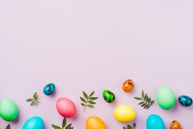 Brilhante coleção de fileira de ovos coloridos perto de folhas