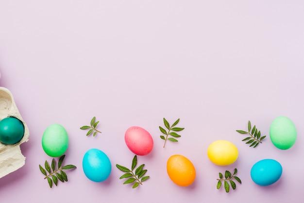 Brilhante coleção de linha de ovos coloridos perto de contêiner e plantas
