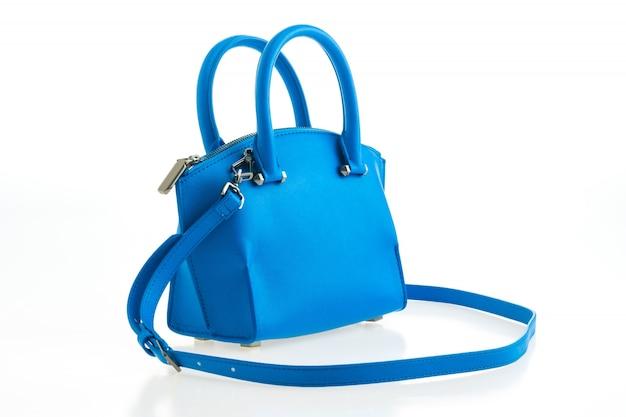 Brilhante elegante de couro azul feminino
