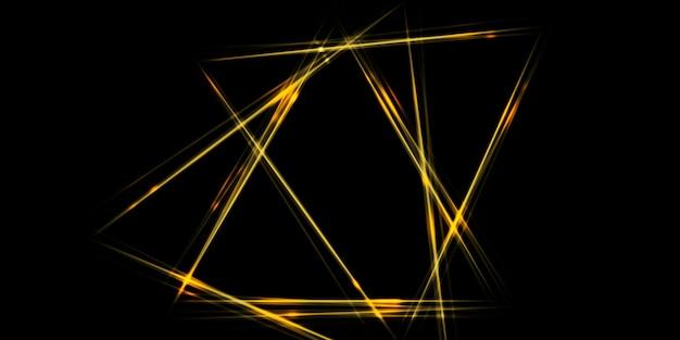 Brilho amarelo dourado em linha reta em contraste com a imagem de fundo do triângulo ilustração 3d