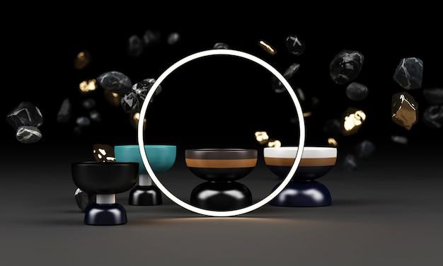 Brilho brilhante de formas geométricas com rocha e pote renderização em 3d