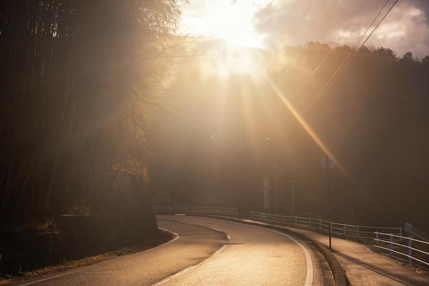 Brilho da luz do sol para curva rua descida