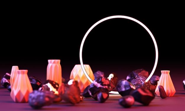 Brilho de cor vermelha e azul brilhante de formas geométricas com renderização 3d de rock e pote