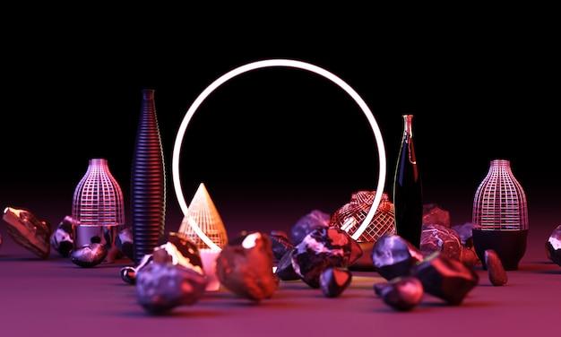 Brilho de cor vermelha e azul brilhante de formas geométricas com renderização em 3d pote e vaso
