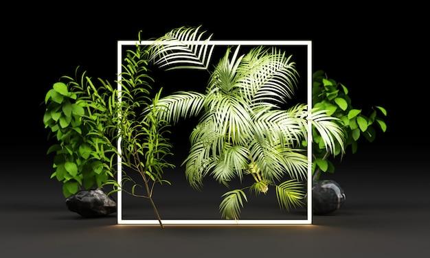 Brilho de luz brilhante de formas geométricas com folhas tropicais renderização em 3d