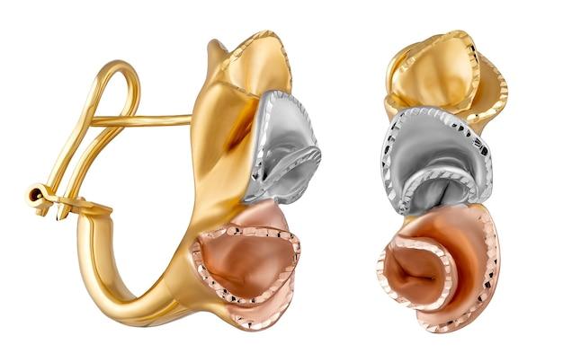 Brincos dourados elegantes isolados em um fundo branco