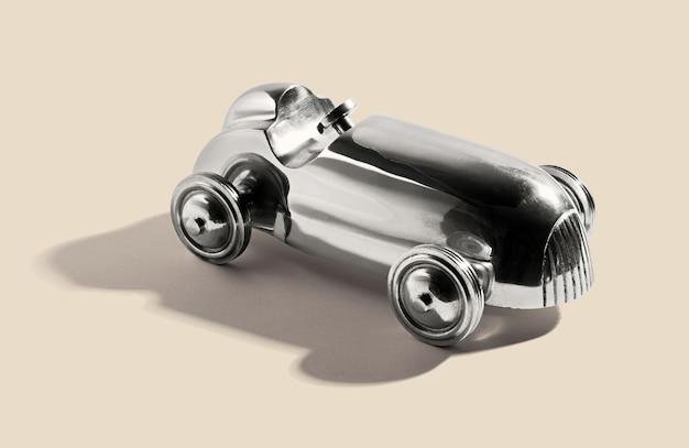 Brinquedo carro vintage prata cromada