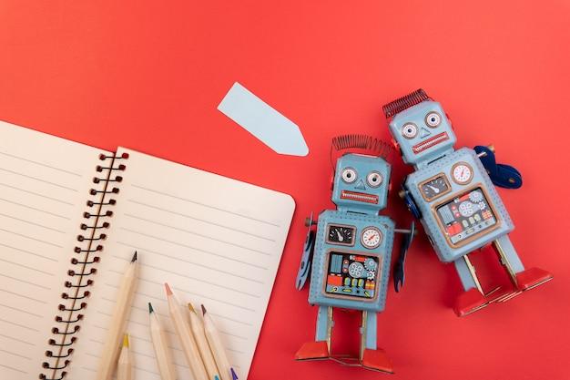 Brinquedo de lata retrô robô vintage