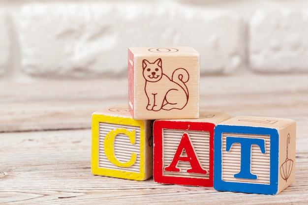 Brinquedo de madeira blocos com o texto: gato