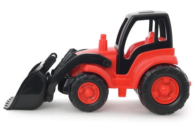 Brinquedo de plástico infantil, escavadeira vermelha e preta isolada no branco