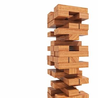 Brinquedo de torre de blocos de madeira
