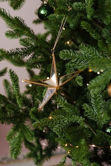 Brinquedo de vidro bonito da árvore de natal da estrela