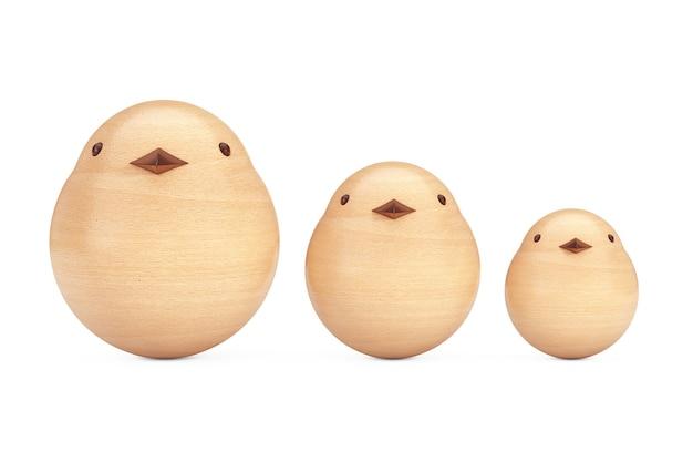 Brinquedo do pássaro das crianças de madeira abstrata em um fundo branco. renderização 3d