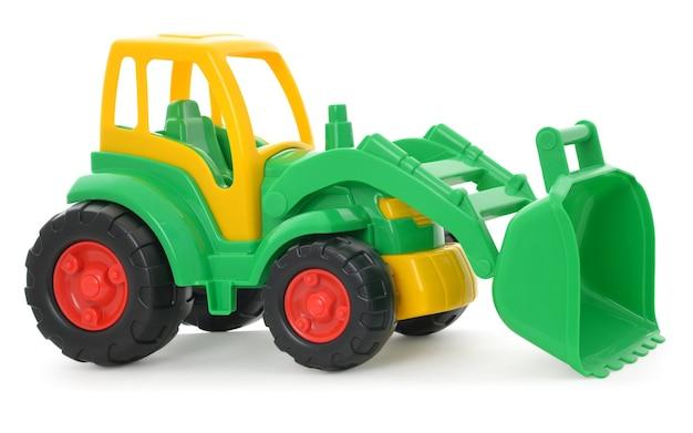 Brinquedo infantil de plástico, buldôzer verde-amarelo isolado no branco