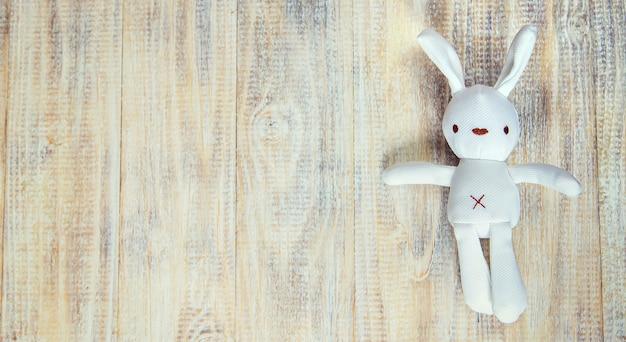 Brinquedo infantil e acessórios em uma luz.