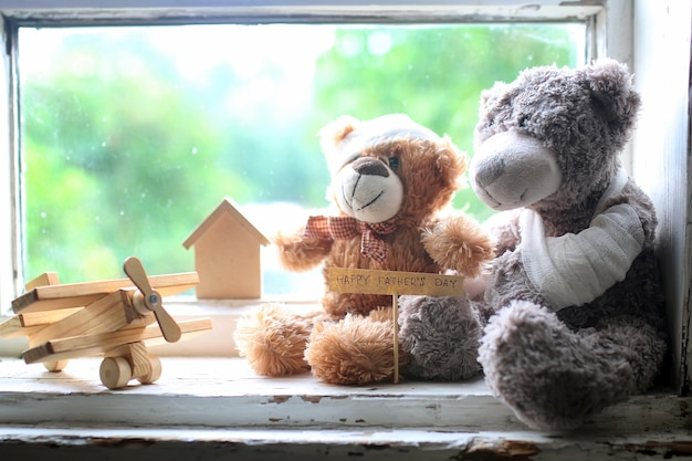 Brinquedo teddy feliz dia dos pais