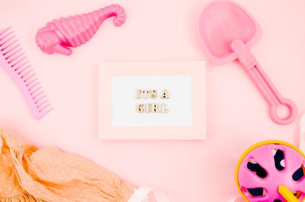 Brinquedos de crianças plana leigos com moldura