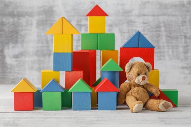 Brinquedos de madeira cubo castelo construção jogo