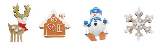 Brinquedos de natal isolados ícones de inverno isolados em fundos brancos natal definido ano novo colecionar