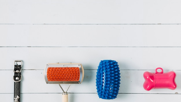 Brinquedos para cães perto de escova e coleira
