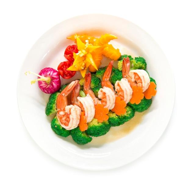 Brócolis stir frito com camarão e cenoura