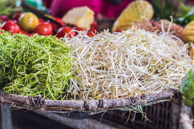 Brotos de soja no mercado ao ar livre