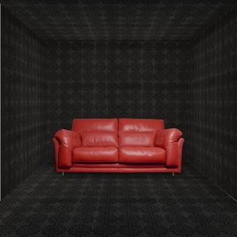 Brow sofá no quarto escuro