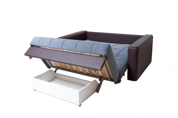Brown e azul, tela e sofá de couro isolados no branco. sofá macio moderno