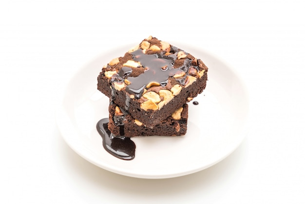 Brownies de chocolate com calda de chocolate