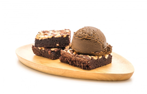 Brownies de chocolate com sorvete de chocolate