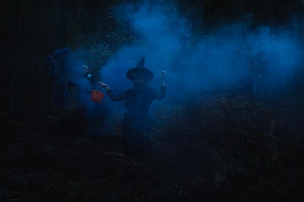 Bruxa em madeira nebulosa