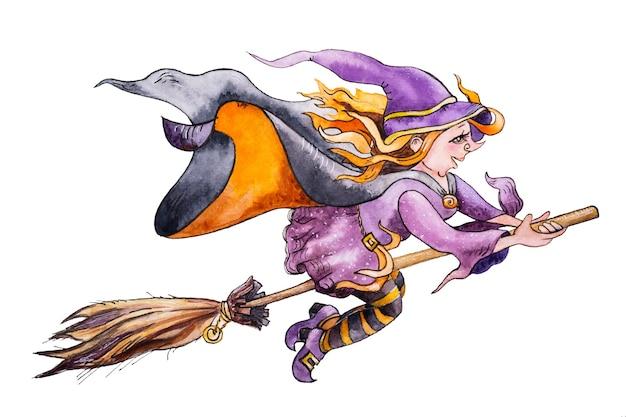 Bruxa feliz e fofa voando na vassoura, ilustração em aquarela