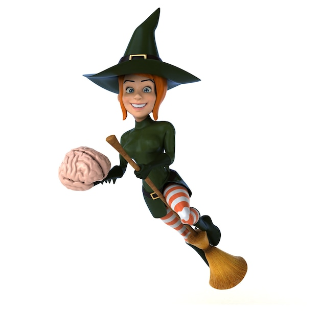 Bruxa ruiva segurando um cérebro na mão