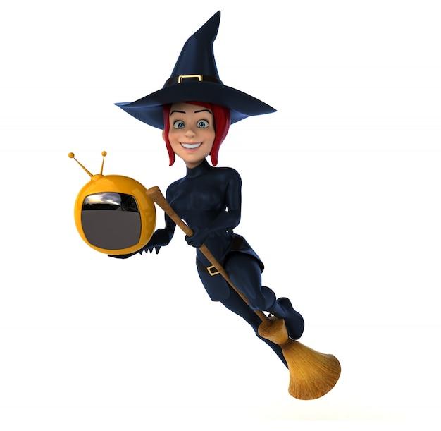Bruxa sexy com tv retrô