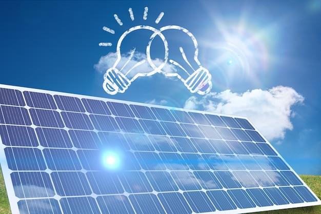Bubls desenhados e um painel solar