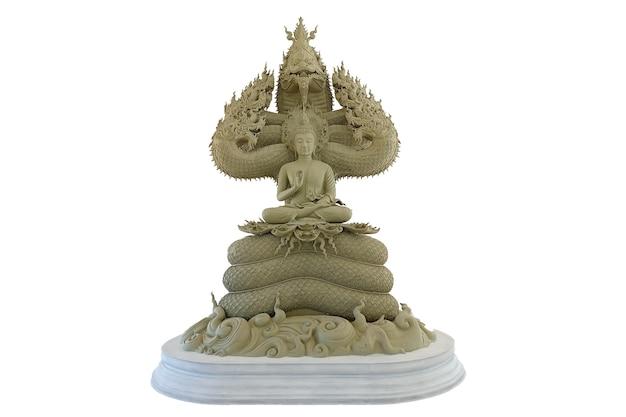 Buda protegido pelo capuz do mítico rei naga em um fundo branco e isolado