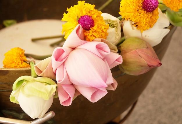 Budistas colocando lótus e flores de calêndula em buda