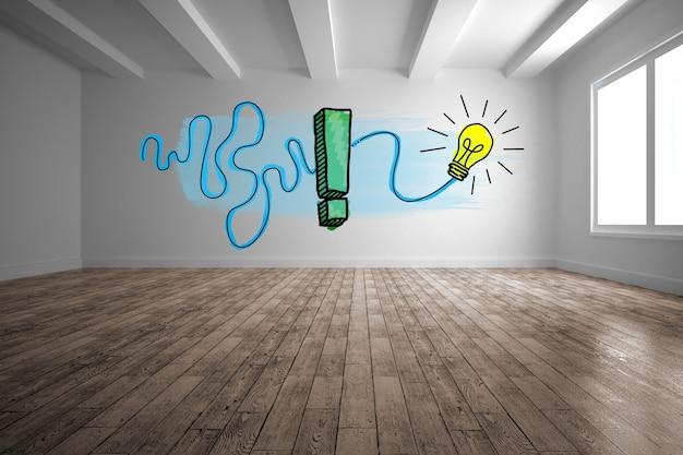 Bulbo desenhado em uma parede