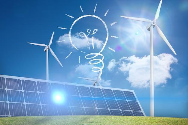 Bulbo, painel solar e eólica fã