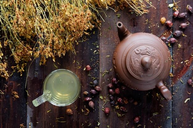 Bule de argila de chá verde à base de plantas