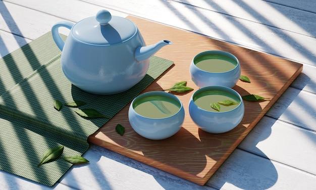 Bule e xícara de chá em uma xícara azul-celeste com folha verde, conceito de hora do chá, renderização em 3d
